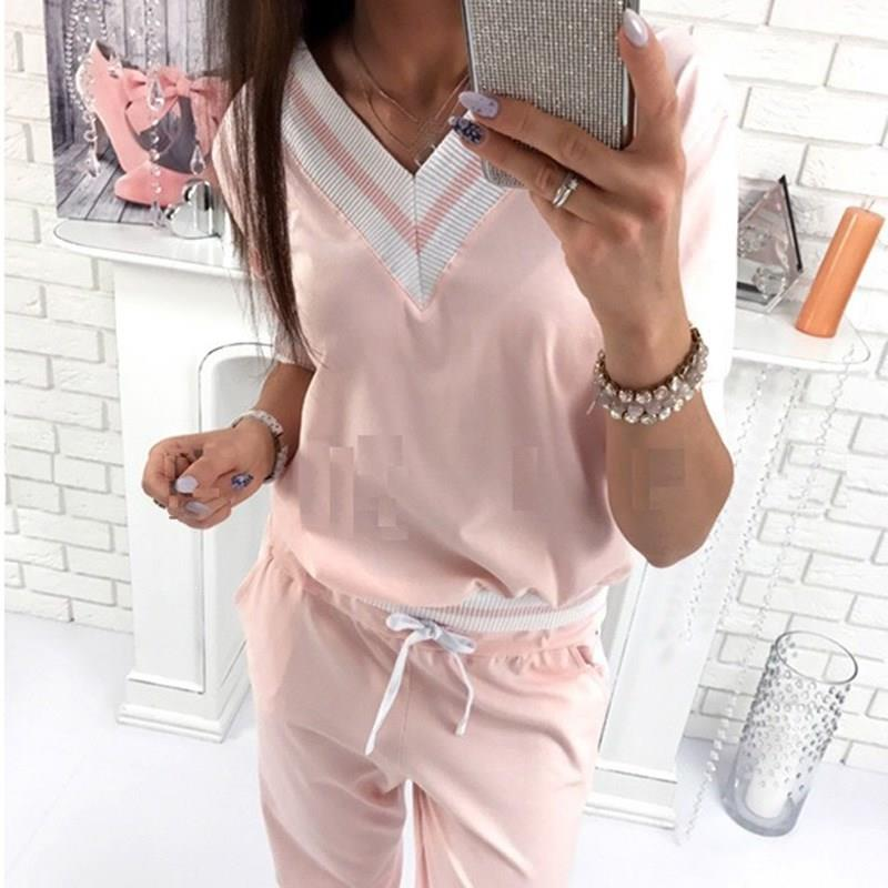 Nice Tide Pullover Sweatshirt And Long Pants Sets 2 Pieces Casual Women Suits V-Neck Cotton Tracksuit Sets