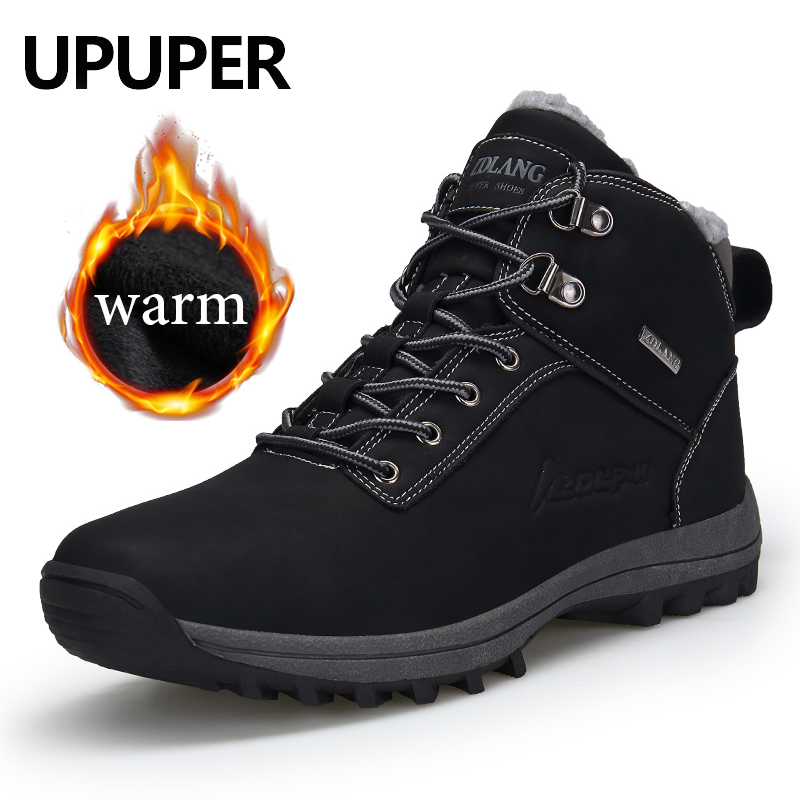 2019 Winter Men Snow Boots Men Outdoor Waterproof Winter Sneakers Shoes Men Leather Warm Ankle Boots For Man Plus Size 39-47