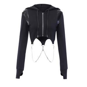 Sweatshirts Gothic Hoodies Short Chain-Link Crop Long-Sleeve Zipper Autumn Dark-Girls