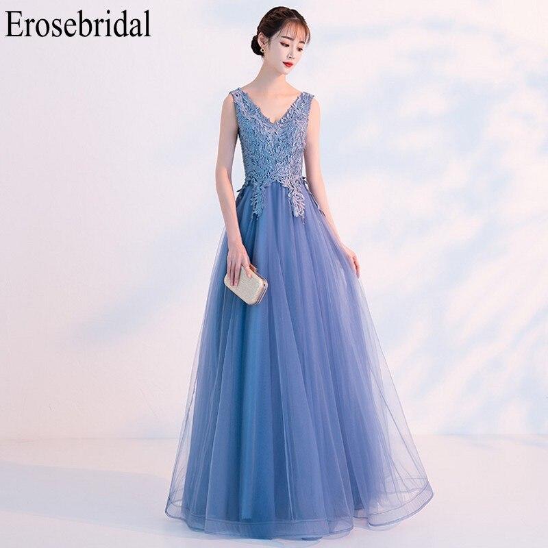 Erosebridal Elegant Evening Dress Long 2019 V Neck Lace Body Long Formal Dresses Evening Gown Party Lace Up Back