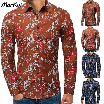 MarKyi spring new long sleeve casual floral shirts men good quality dress shirts male slim fit markyi 2019 brand new floral print casual shirts for men good quality 3d compression long sleeve shirt men