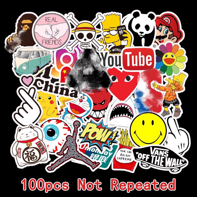 100Pcs Tide Brand Sticker Doodle Tide Brand Luggage Sticker Guitar Skateboard Battery Car Sticker Waterproof Travel Case Laptop