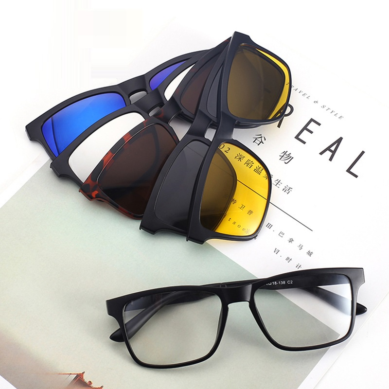 Evove <font><b>Magnetic</b></font> <font><b>Sunglasses</b></font> <font><b>Men</b></font> <font><b>5</b></font> <font><b>in</b></font> <font><b>1</b></font> Glasses Frame <font><b>Clip</b></font> <font><b>on</b></font> Eyeglasses Myopia Night Driving Male Diopter image