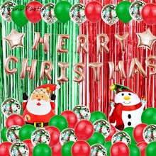Twins Party Merry Christmas Banner Garland Balloons Decorations Kit Foil Balloon Xmas