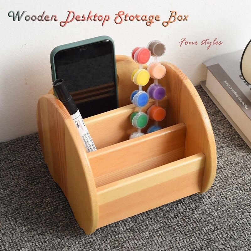 Solid Wood Storage Box Desktop Office Table Organizer Remote Control Cosmetic Storage Case