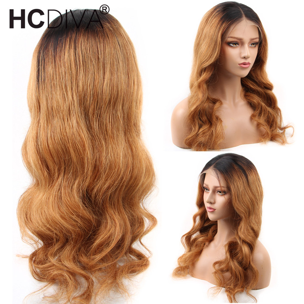 Ombre 1B/27 Body Wave Lace Front Wig Brazilian Remy Human Hair Wig 13*4 Ombre Lace Front Wig For Women PrePlucked With Baby Hair