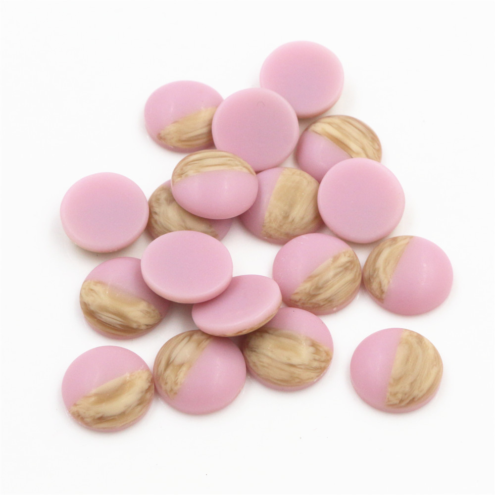 40pcs 12mm Pink Colors Wood Grain Frosted Imitation Leather Style Flat Back Resin Cabochons Fit 12mm Cameo Base Button-Y7-36