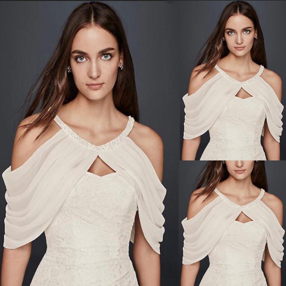 Chiffon Crystal Beaded Halter Bridal Capes Wedding Shoulders Shawls White Plus Size Bride Straps