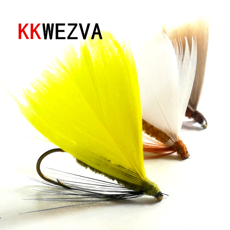 KKWEZVA 24pcs Fishing Lure Butter Fly Insects Different Colors Salmon Flies Trout Single Dry Fly Fishing Lures Fishing Tackle
