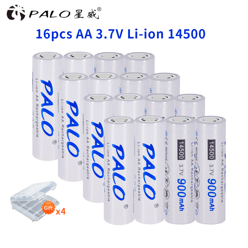 PALO 2-16 pcs 3.7V AA 14500 rechargeable battery 2A 900mAh Li-Ion lithium batteries for Led flashlight mouse torch headlights image