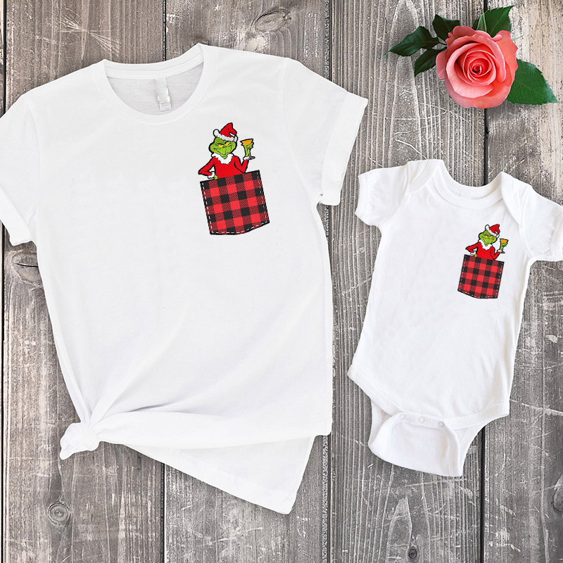 Christmas Family Grinch Tshirt Merry Christmas Baby Girl Clothes Mommy And Me Shirts Big Sister Little Sister Print Family Look