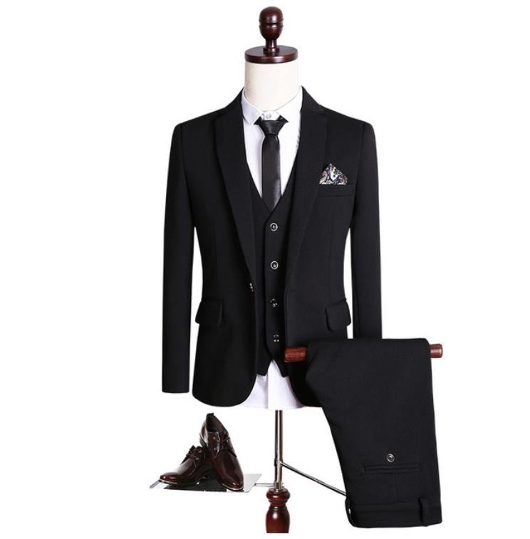 (Jackets+Vest+Pants)2019 New High Quality Single Button Black Casual Suit Men,Blazer Wedding Dress For Men Costume Homme Mensuit