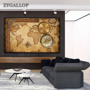World Map with Compass Print Vintage Poster Canvas Wall Art Scandinavian Decor Wall Painting for Living Room Home Decor Cuadros