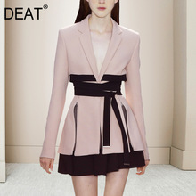 Blazer Cloth Two-Piece-Set Deep-V-Collar Office Lady Women's Lacing DEAT Design Full-Sleeve