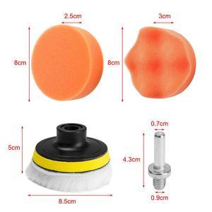 Image 2 - 11Pcs/Set 3 inch Car Polishing Disc Self Adhesive Buffing Waxing Sponge Wool Wheel Polishing Pad For Car Polisher Drill Adapter