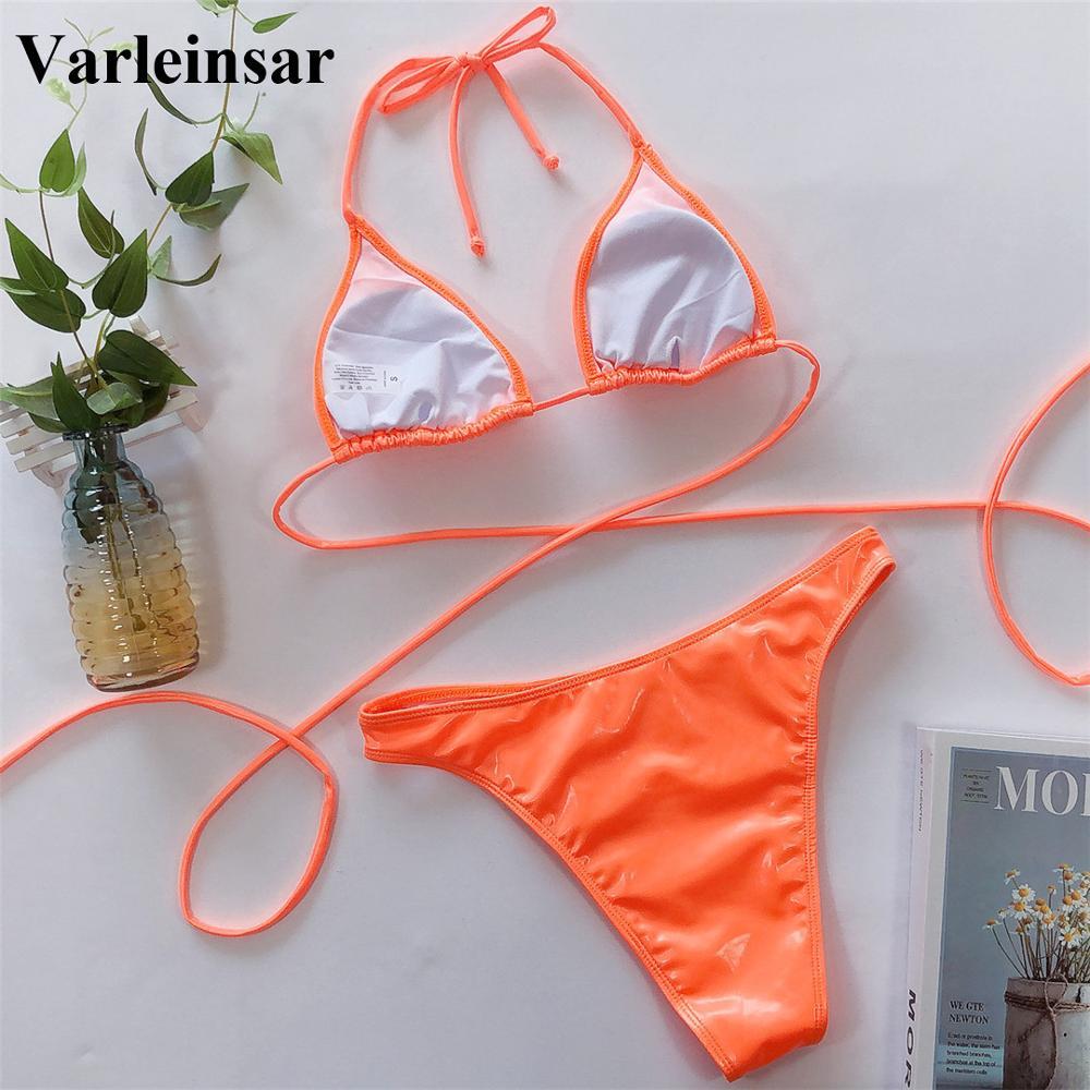 New Sexy 2020 PU Faux Leather Bikini Women Swimwear Female Swimsuit Two-pieces Bikini set Halter Bather Bathing Suit Swim V1842 5