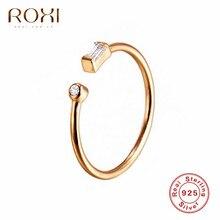 ROXI Простые Кольца из стерлингового серебра 925 для женщин подарок AAA кубические циркониевые кольца ювелирные изделия с кристаллами регулируемые CZ открытые кольца миди