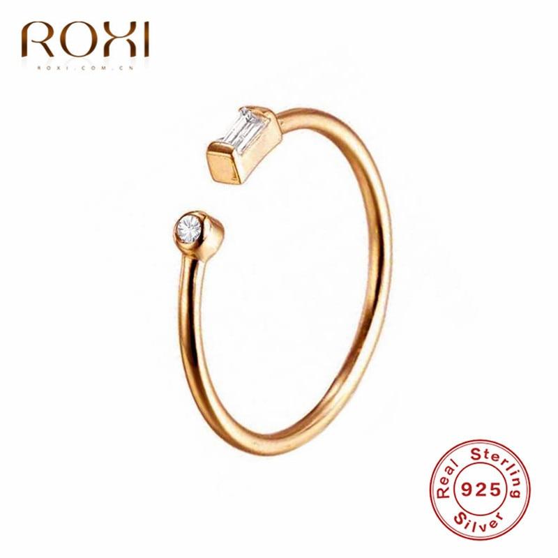 Anillos de circonia cúbica con Circonia cúbica AAA para regalo de mujer, 925 anillos de plata esterlina simples ROXI, anillos ajustables con punta abierta de circonia cúbica