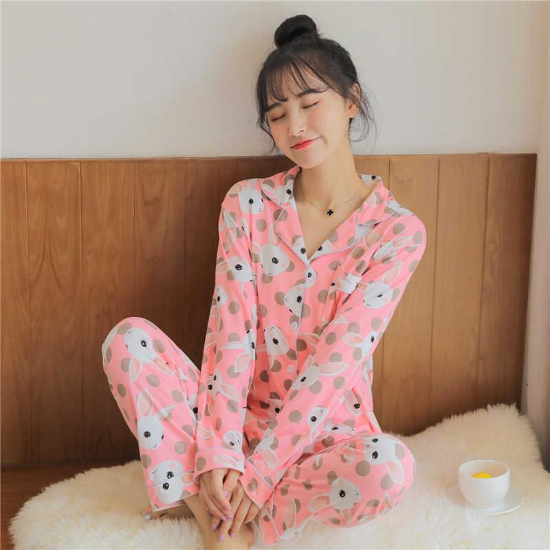 Women's Sleepwear Nightgown Long Sleeve Lapel Nightclothes Kawaii Rabbit Cartoon Print Pijamas Breathable Pijama Mujer