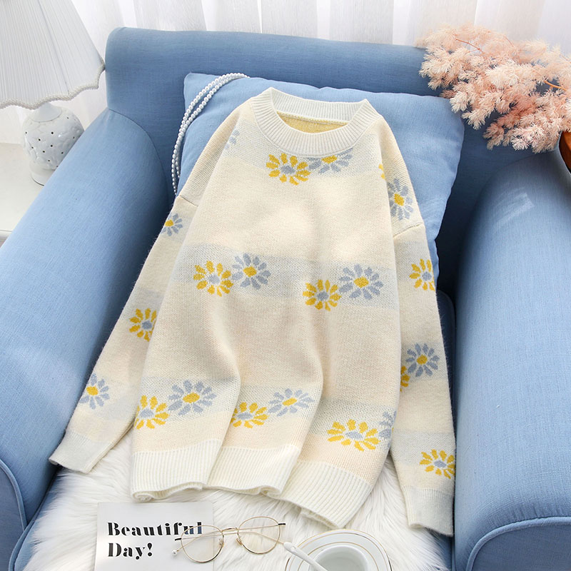 loose women knitted sweater and pullovers loose floral sweet lady elegant pulls fashion outwear coat tops