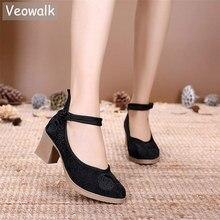 Veowalk אקארד כותנה רקום נשים שמנמן עקבים 6cm גבירותיי מקרית נוחות ישן בייג ינג משאבות רטרו סיני נעליים