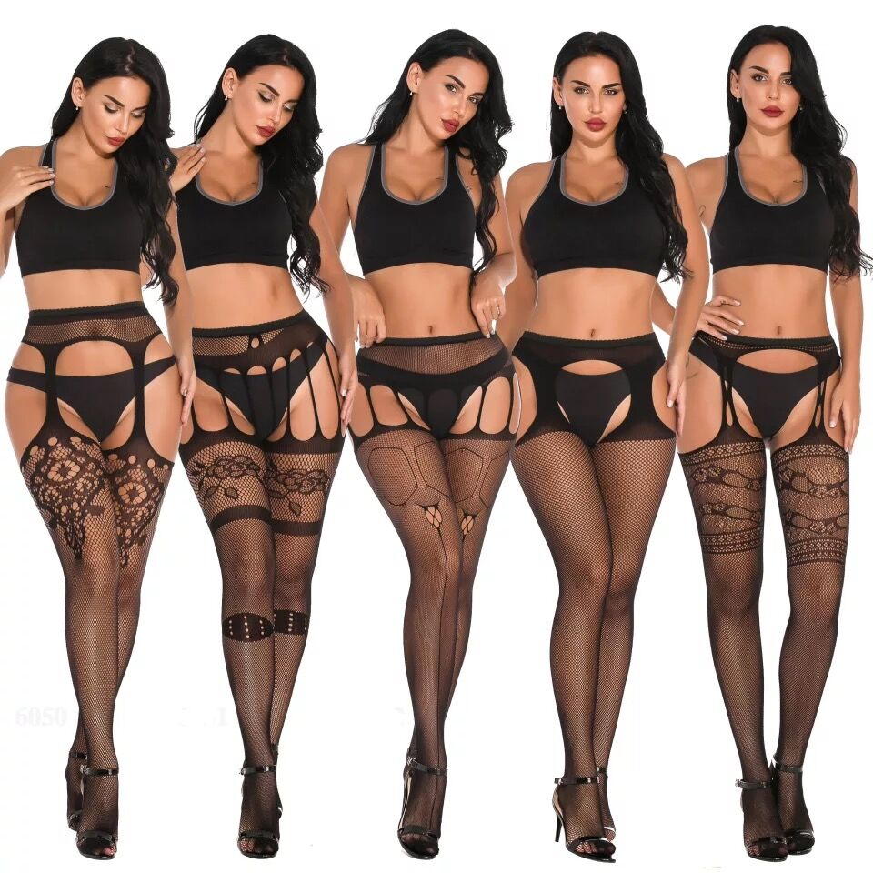 Women Sexy Lingerie Fishnet Elastic Stockings Transparent Black Thigh Sheer Tights Pantyhose Hot Erotic Lingerie