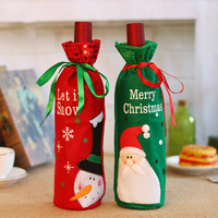 50pcs/lot Christmas Decoration for Home Wine bottle Cover Xmas Table Layout Supply Gift Bag Santa Claus Direct Supply Wholesale