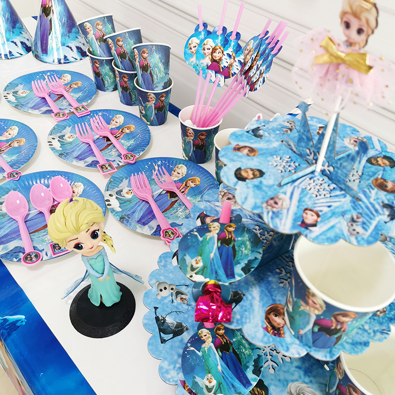 Disney Frozen Anna and Elsa Princess Design Disposable Tableware Paper Cup Plate Baby Shower Birthday Party Decorations Supplies-5