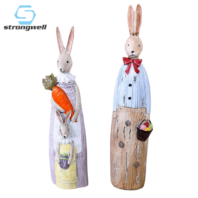 Strongwell Vintage Old Imitation Wood Carving Creative Couple Rabbit Figurine Resin Crafts Statue Home Decoration Birthday Gifts