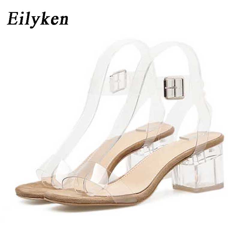 Eilyken 2020 PVC Jelly Sandals Crystal Leopard Open Toed High Heels Women Transparent Heel Sandals Slippers Square Heel Zapatos
