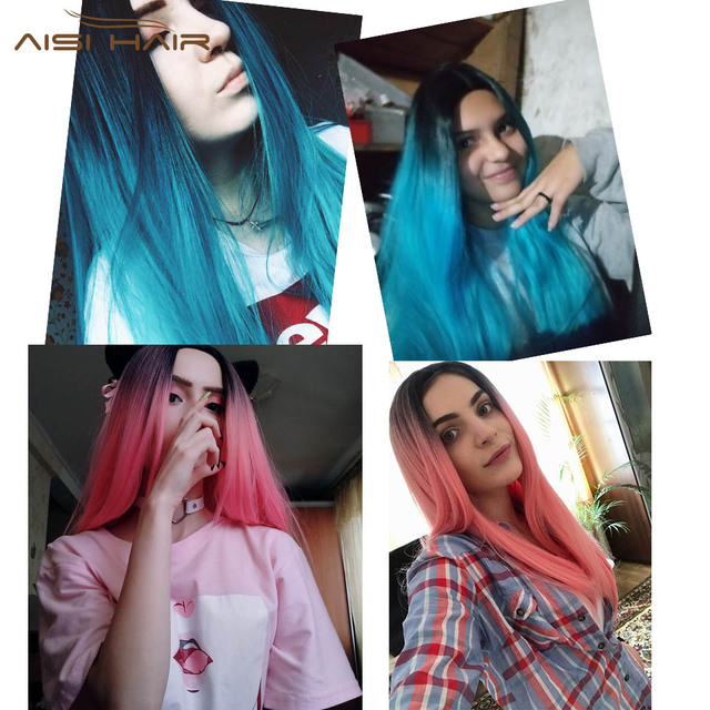 Ombre Blue Green Straight Long Synthetic Wigs For Women Black Pink Wigs 24 inch can be Cosplay Wigs Heat Resistant  I's a wig 5