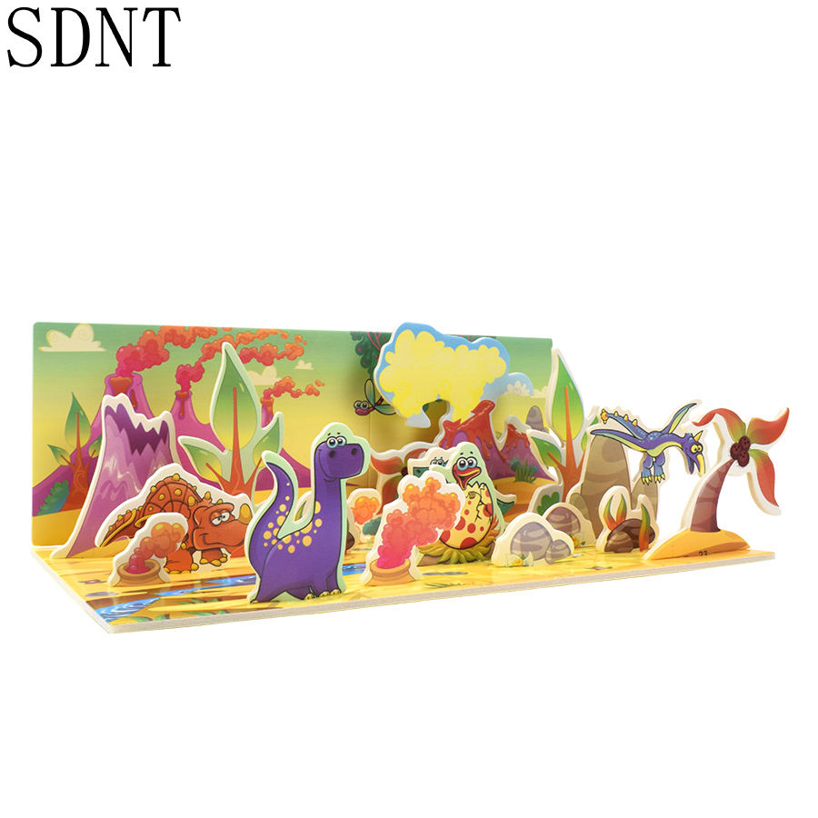 Dinosaur Park Puzzles Model Toy 3D Cartoon Animal Cardboard Handmade Building Models Kits Toys For Children Gift Puzzle Game