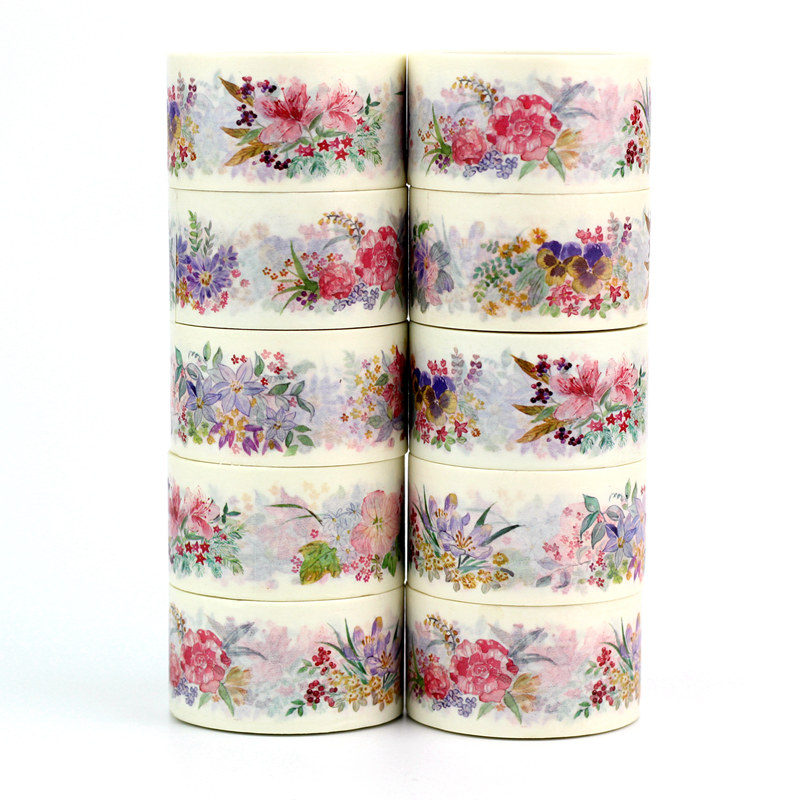 High Quality 10pcs/lot Cute Beautiful Flowers Washi Tapes DIY Decor Scrapbooking Planner Adhesive Masking Tape Kawaii Stationery