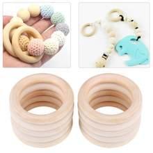 10 pçs do bebê de madeira dentição anéis 70mm faia de madeira natural seguro colar pulseira fazendo diy artesanato brinquedos do bebê mordedores