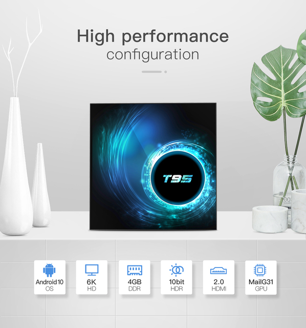 Android 10.0 TV Box 4GB RAM 32GB 64GB ROM Set Top Box T95 Allwinner H616 6K@30fps HD Cortex A53 Smart Media Player HDMI 2.0