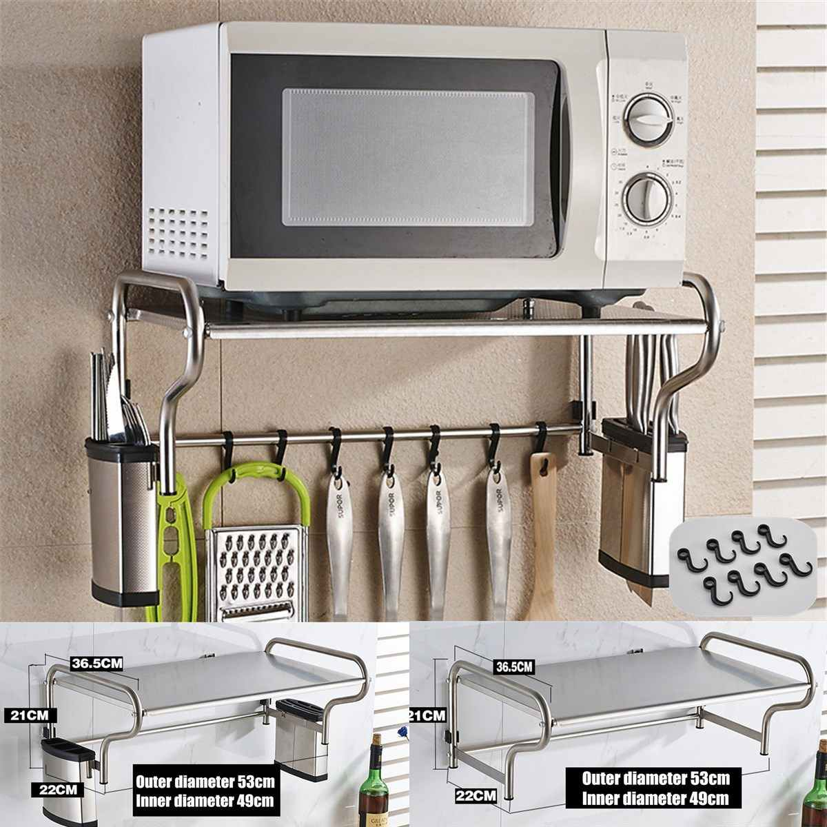 stainless steel microwave oven bracket wall mounted kitchen rack light thickened kitchen shelf microwave oven rack storage