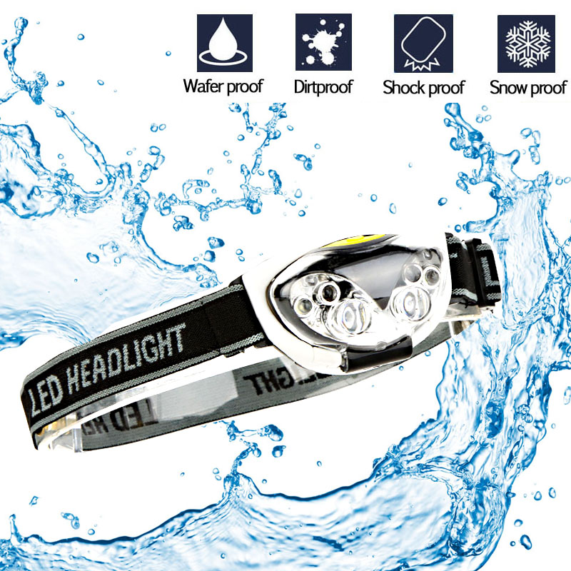Купить с кэшбэком LED Headlight Head Bike Lamp Light Infrared Ray Mini Waterproof 800Lm 3 Modes 3xAAA battery Headlamp With Headband