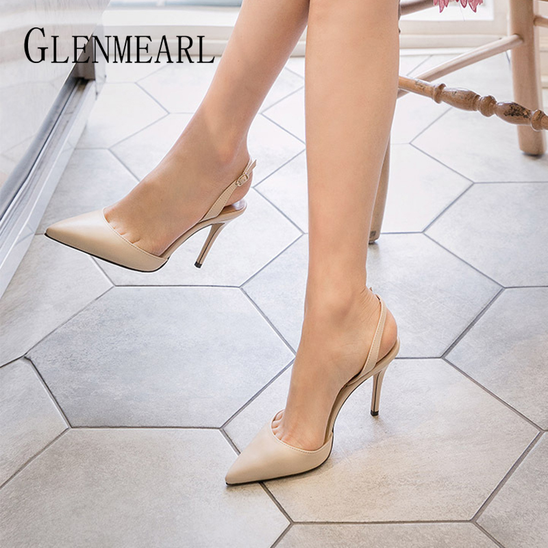 Heels Women Pumps Female Shoes High Heels Fashion Buckle Strape Pointed Toe Wedding Shoes Spring Autumn Casual Shoes Plus Size D
