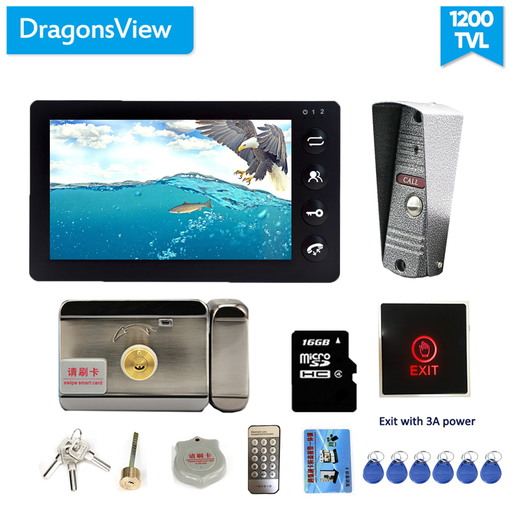 Dragonsview 7 Inch Video Intercom With Lock Video Door Phone Doorbell Record Unlock Exit Button 3A Power
