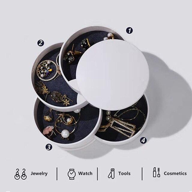 Femmes bijoux boîte de rangement nouveau Design mode 4-couche rotatif bijoux accessoire plateau de rangement avec couvercle cadeau danniversaire pour les femmes