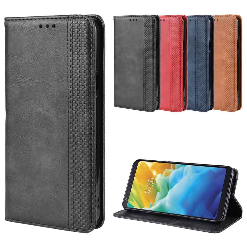 Leather phone case for LG W10 W30 / G7 G8S ThinQ / Q60 K50 back Cover Flip card wallet with stand Retro Coque