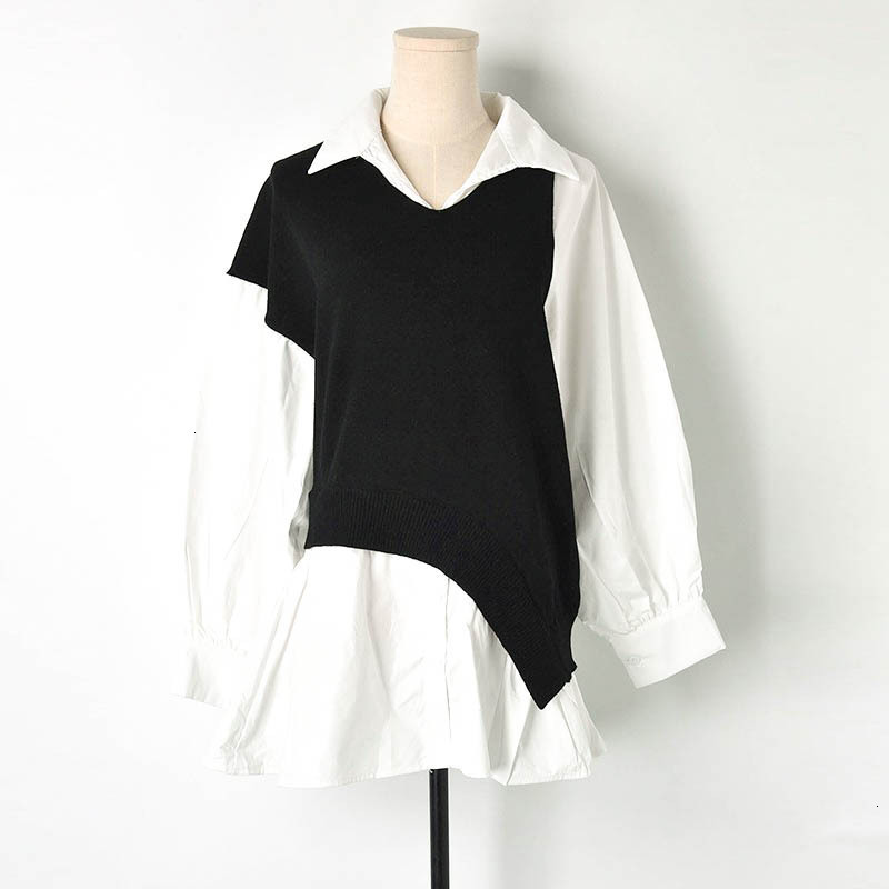 Nouveau blanc carré col chemise couture contraste couleur lanterne manches chandail lâche femmes