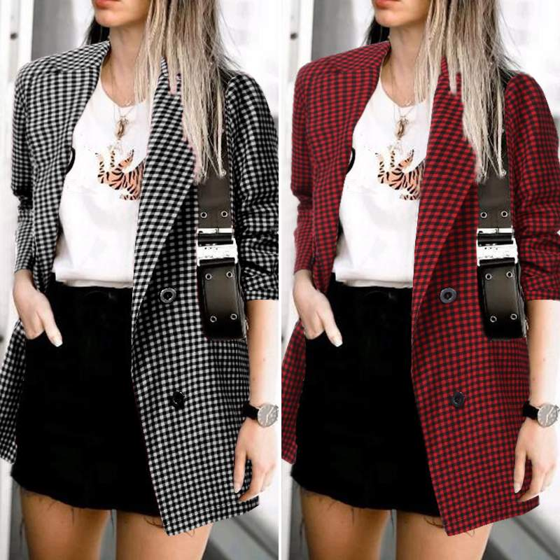 2019 ZANZEA Office Lady Blazers Women Plaid Check Blazer Casual Loose Pockets Blazer Female Lapel Neck Button Chaqueta Outwear