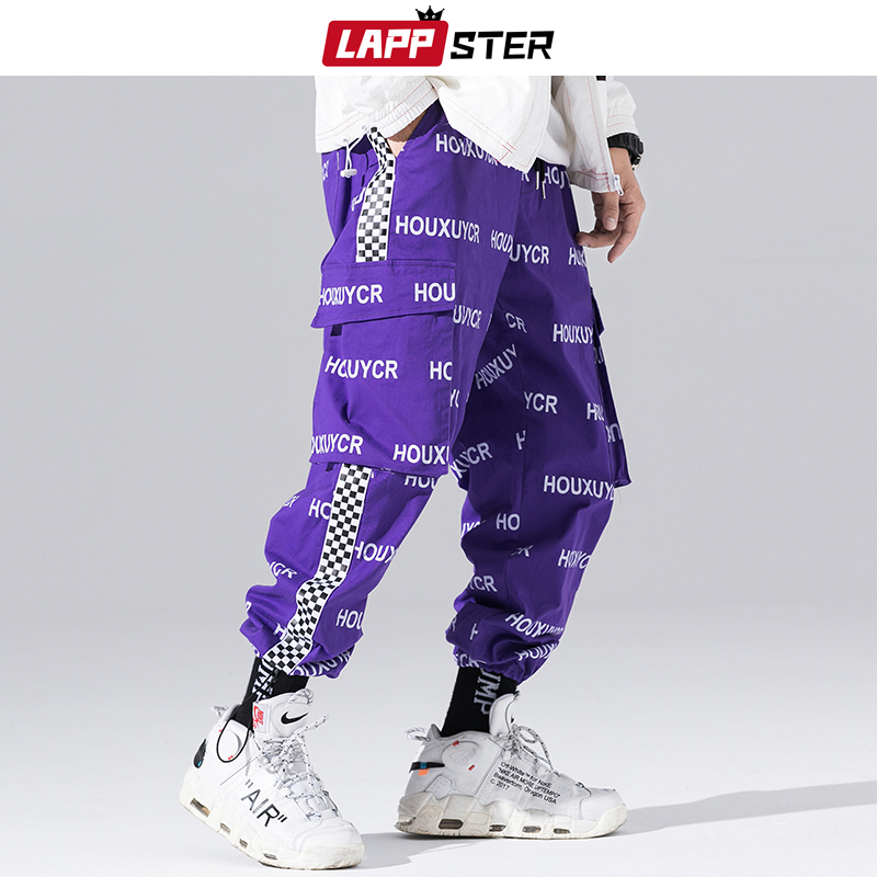 LAPPSTER Mens Streetwear Print Cargo Pants 2020 Overalls Men Hip Hop Joggers Pants Trousers Pocket Black Casual Track Pants