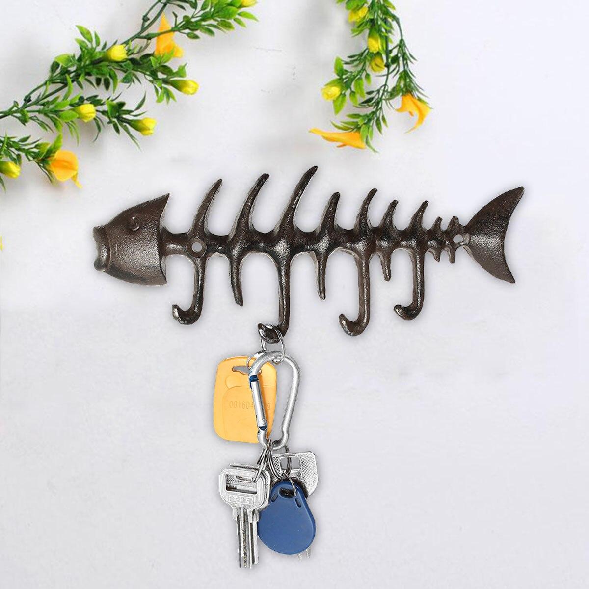Rustic Wall Mount Hook Cast Iron Coat Key Clothes Towel Hat Fish Bone Peg Door Wall Window Hanger Holder Home Kitchen