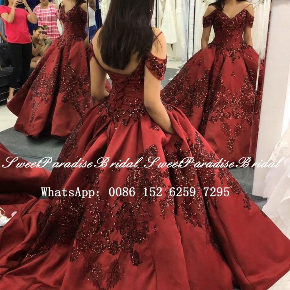 Shiny Sequins Appliques Quinceanera Dresses 2020 Burgundy Satin Spaghetti Off Shoulder Short Sleeves Ball Gown Pageant Dress
