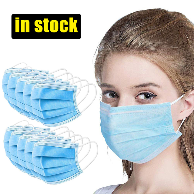 50/100 Disposable Face Mask 3-Ply Protective woven Disposable Elastic Mouth Soft Breathable Hygiene Safety Face Masker flu