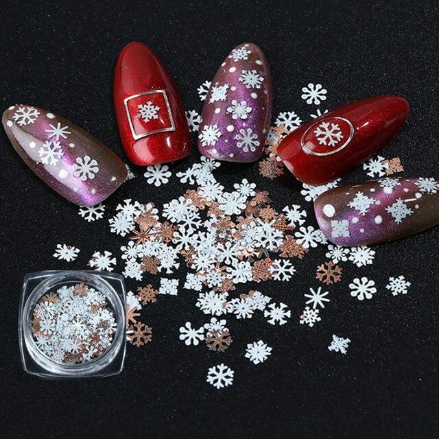 1 коробка, белый металл, Рождественский Снежный хлопья, сделай сам, дизайн ногтей, блестящие украшения, зимние подвески, Пыль для типсов, аксессуары для маникюра, LE1035