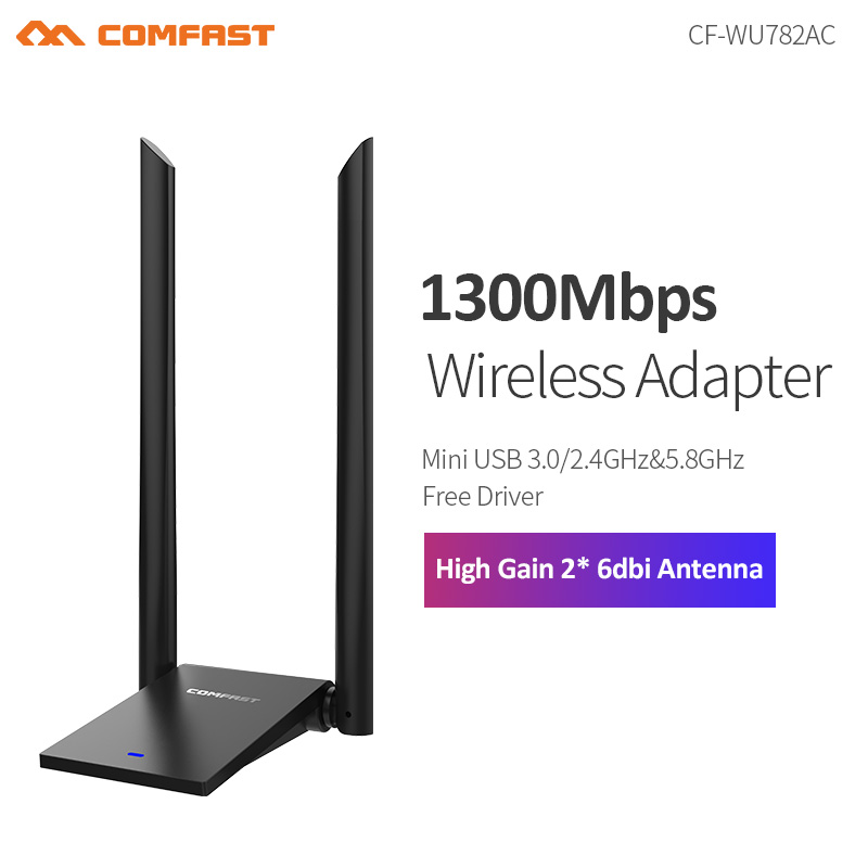NEW~COMFAST 1300Mbps 802.11ac Long Distance 5.8GHz USB 3.0 WiFi Adapter WIFI Receiver High-gain Antenna  2*6dBi  Dual Band