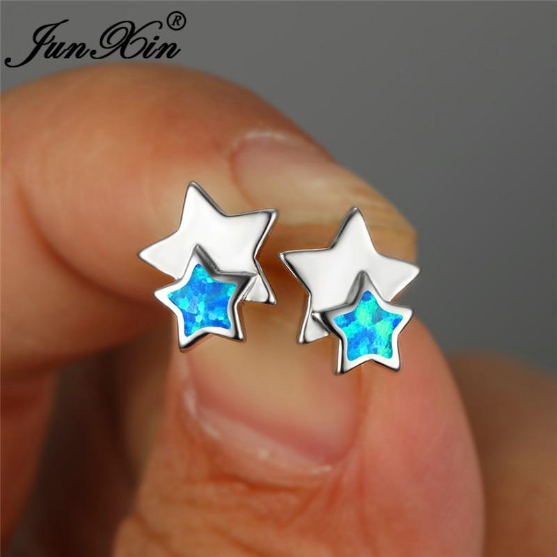 Unique Double Star Stud Earrings Blue White Fire Opal Earrings For Women White Gold Rainbow Birthstone Wedding Ear Studs Jewelry